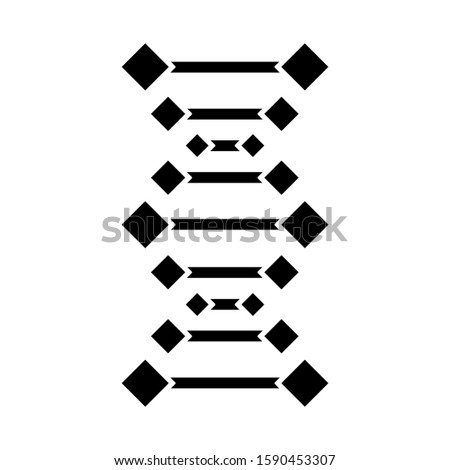 DNA chains glyph icon. Deoxyribonucleic, nucleic acid helix. Chromosome. Molecular biology. Genetic code. Genome. Genetics. Medicine. Silhouette symbol. Negative space. Vector isolated illustration