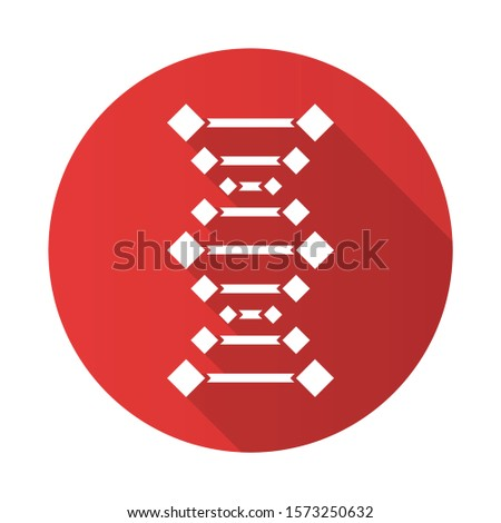 DNA chains red flat design long shadow glyph icon. Deoxyribonucleic, nucleic acid helix. Chromosome. Molecular biology. Genetic code. Genome. Genetics. Medicine. Vector silhouette illustration