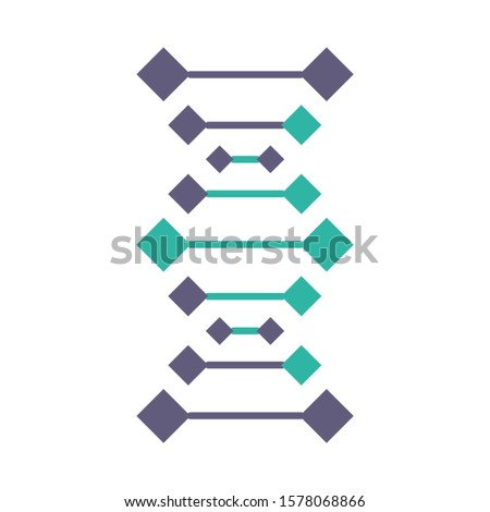 DNA chains violet and turquoise color icon. Deoxyribonucleic, nucleic acid helix. Spiraling strands. Chromosome. Molecular biology. Genetic code. Genome. Genetics. Isolated vector illustration