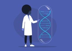 DNA code, biotech startup, scientific big data, young black female researcher working in a lab