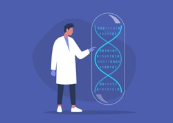 DNA code, biotech startup, scientific big data, young male researcher working in a lab