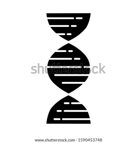 DNA double helix glyph icon. Deoxyribonucleic, nucleic acid structure. Chromosome. Molecular biology. Genetic code. Genome. Genetics. Silhouette symbol. Negative space. Vector isolated illustration