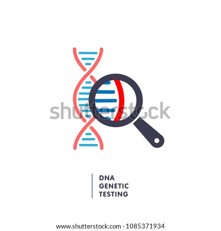 DNA, genetics testing icon. dna chain in magnifying glass sign. genetic engineering, cloning, paternity testing, DNA analysis. vector illustration