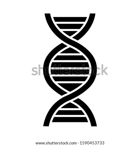 DNA helix glyph icon. Deoxyribonucleic, nucleic acid. Spiraling strands. Chromosome. Molecular biology. Genetic code. Genome. Genetics. Silhouette symbol. Negative space. Vector isolated illustration