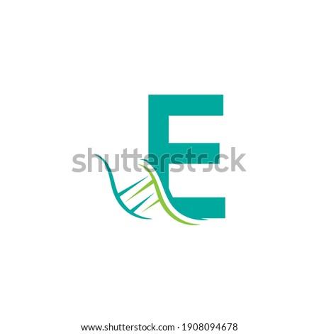 DNA icon logo with letter E template design illustration Foto stock ©