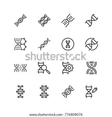 DNA icon set. Collection of high quality black outline logo for web site design and mobile apps. Vector illustration on a white background.