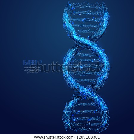 DNA link. Science Technological concept. Polygonal abstract health illustration. Low poly blue vector illustration of a starry sky or Cosmos. Vector image in RGB Color mode.