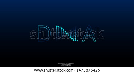 DNA logo or symbol. Abstract dna molecule helix spiral blue green isolated on black background. Vector illustration in concept medical science, genetic biotechnology, chemistry biology, gene.
