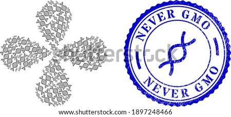 DNA molecule exploding flower with four petals, and blue round NEVER GMO unclean badge with icon inside. Element twirl done from oriented DNA molecule symbols. Vector flower collage in flat style. Foto stock ©