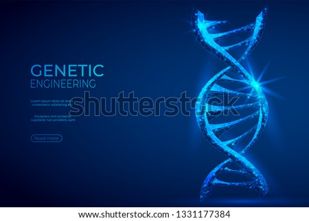 DNA polygonal genetic engineering abstract background. The isolated concept of medical science, genetic biotechnology consists of low poly wireframe, geometry triangle, lines, dots, polygons, shapes.