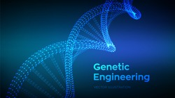 DNA sequence. Wireframe DNA molecules structure mesh. code editable template. Science and Technology concept. Vector illustration.