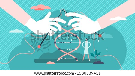 DNA sequencing vector illustration. Genetic scene in flat tiny persons concept. Molecular cloning or editing process visualized as knitting. Determining nucleic acid method in anatomy gene laboratory.