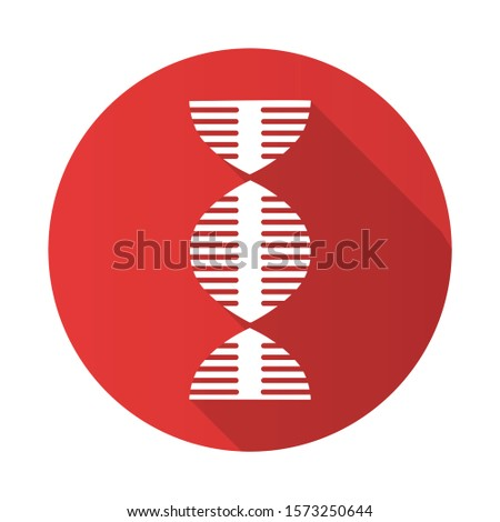 DNA spiral red flat design long shadow glyph icon. Deoxyribonucleic, nucleic acid helix. Spiraling strand. Chromosome. Molecular biology. Genetic code. Genome. Genetics. Vector silhouette illustration