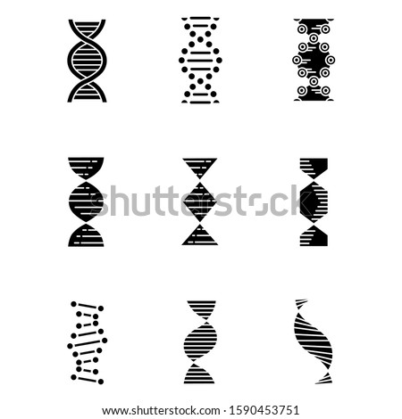 DNA spirals glyph icons set. Deoxyribonucleic, nucleic acid helix. Chromosome. Spiraling strands. Molecular biology. Genetic code. Genome. Genetics. Silhouette symbols. Vector isolated illustration