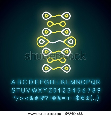 DNA strands neon light icon. Deoxyribonucleic, nucleic acid helix. Molecular biology. Genetic engineering. Genetics. Glowing sign with alphabet, numbers and symbols. Vector isolated illustration