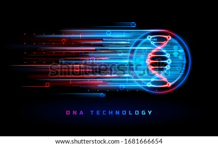 DNA technology, genome research and genetic biotechnology vector blue red neon light background. Human DNA gene, genetics science and biology, scientific medicine and healthcare molecular technology