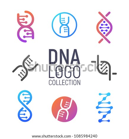 DNA vector logo collection isolated. Deoxyribonucleic acid logotype set. Modern simple microbiological icons on white background