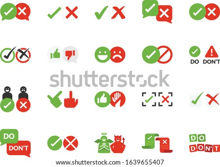 Do and don't line icon set. Included icons as check, mark, good, bed, accept,deny, checklist and more. Zdjęcia stock ©