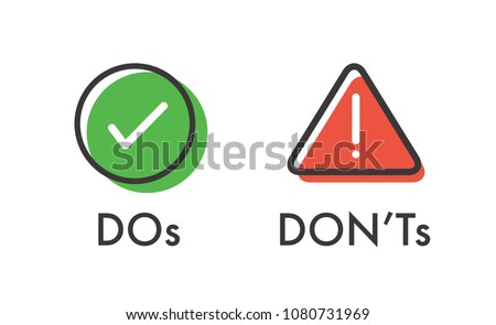 Do and Don't or Good and Bad Icons w Positive and Negative Symbols Foto d'archivio ©