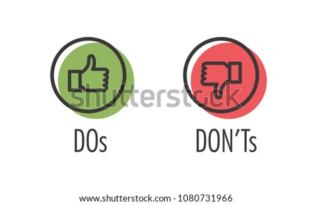 Do and Don't or Like & Unlike Icons with Positive and Negative Symbols Foto d'archivio ©