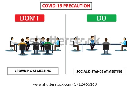 Do and don't poster for covid 19 corona virus. Safety instruction for office employees and staff. Victor illustration of maintain social distance in meeting room for covid 19 disease.