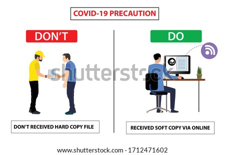 Do and don't poster for covid 19 corona virus. Safety instruction for office employees and staff. Vector illustration of don't received hard copy from vendor and share soft copy with online.