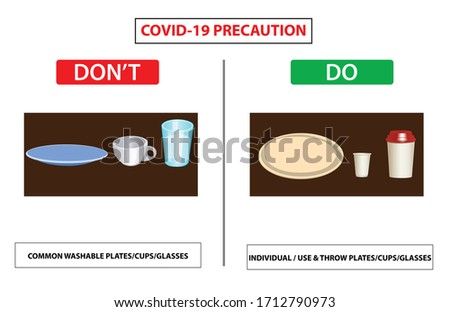 Do and don't poster for covid 19 corona virus. Safety instruction for office employees and staff. Vector illustration of how properly use cup plate and glass  at office.  Washable cup or paper cup.