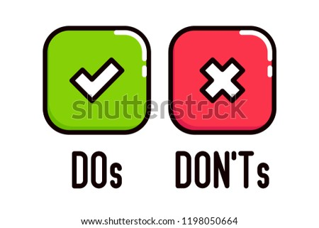 Do and Don't square box vector icons.