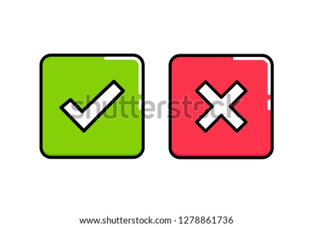 Do and Don't square box vector icons. Modern flat illustration. Check tick and reject icons in green and red square. Outline icons for your project