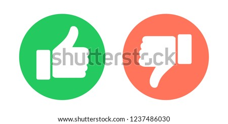 Do and Don't symbols. Thumbs up and thumbs down circle emblems. Like and dislike icons set. Vector illustration.