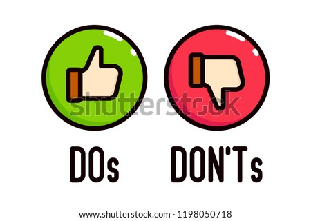 Do and Don't thumbs vector icons. Stockfoto ©