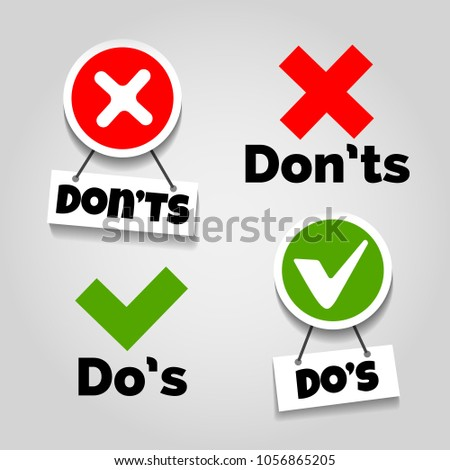 Do and dont icons. Doing recommendation and mistake color signs with text box for guidelines, tests and consumer rights vector illustration