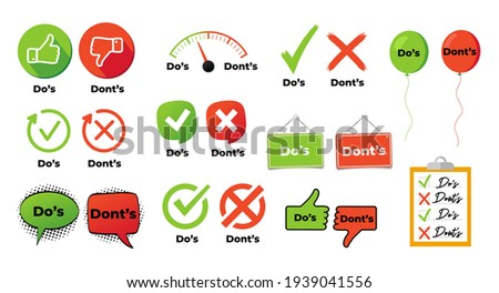 Do and not do set or like and unlike icons with positive and negative symbols vector illustration eps 10 Stok fotoğraf ©