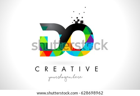 DO D O Letter Logo with Colorful Vivid Triangles Texture Design Vector Illustration. Foto stock ©