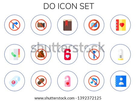 do icon set. 15 flat do icons.  Collection Of - no turn right, agenda, no video, no pooping, do not disturb, photo, straight, door hanger, step, music