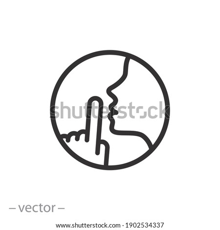 do not disturb icon, please do quiet, pssst or shhh gesture lips, silence or secret, keep shut mouth, line symbol on white background - editable stroke vector illustration eps10 Stock photo ©