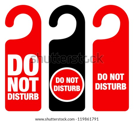 Do Not Disturb Sign - Red Hotel Door Warning Messages isolated on white background