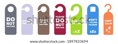 Do not disturb tag. Don't disturb banner in hotel. Please do not disturb collection. Hanging label in hotel. Private time message. Warning symbol on door. Colorful privacy tag set. Vector EPS 10