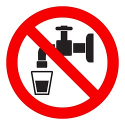 Do not drink water sign, isolated on white background, vector illustration.