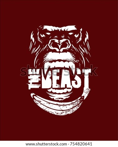 do not feed the beast, vector illustration, angry gorilla, suitable for work out a gym shirt