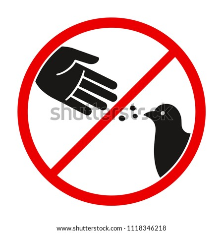 Do not feed the birds warning sign, stylized vector pigeon silhouette and hand symbol in crossed red circle.