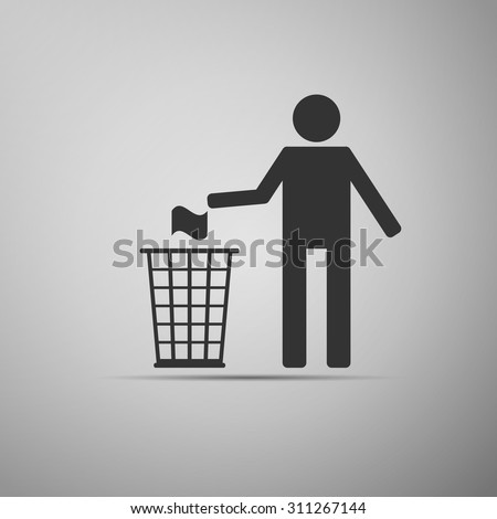 Do not litter icon on grey background. Vector Illustration
