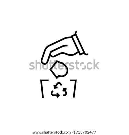 Do not litter icon. Throws garbage vector illustration. Isolated contour of rubbish on white background. Editable stroke Photo stock ©