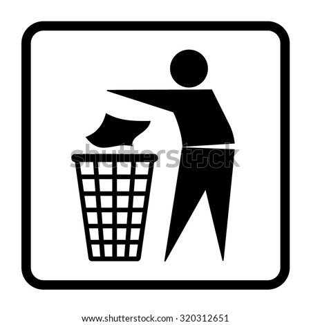Do not litter sign. Silhouette of a man, throwing garbage in a bin, isolated on white background. Icon vector