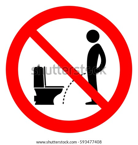 Do not pee outside of the toilet, prohibition sign, vector illustration.