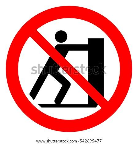 Do not push, prohibition sign. No pushing, vector illustration.