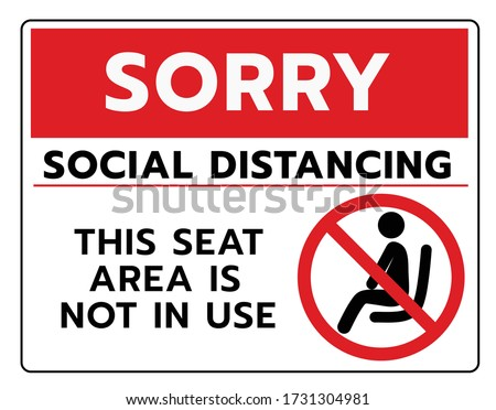 Do not sit Sign.Do not seat area warning signs. Forbid or forbidden seating down icons. Keep Social distancing for covid-19 or Coronavirus outbreak ストックフォト ©