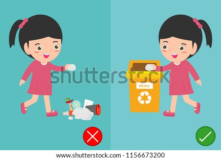 Do not throw littering butts on the floor,wrong and right, female character that tells you the correct behavior to recycle.vector illustration