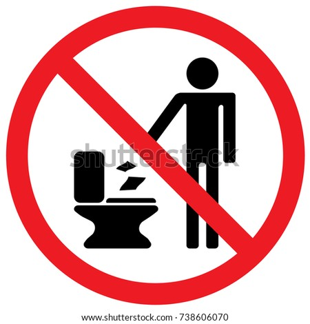 Do Not Throw Paper In The Toilet Sign. Vector.