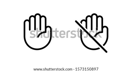 Do not touch hand icon. Isolated lined  logotype design element. User manual standard symbol. Crossed palm pictogram.